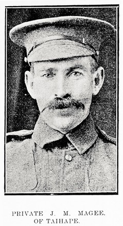Private J. M. Magee, of Taihape. Taken from the supplement to the Auckland Weekly News 18 November 1915 p047. Sir George Grey Special Collections, Auckland Libraries, AWNS-19151118-47-7. No known copyright.