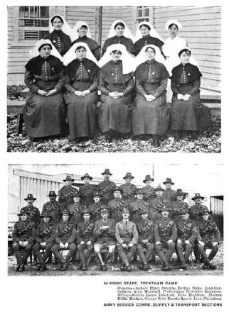 NURSING STAFF, TRENTHAM CAMP Standing— Sisters Ethel Swayne, Bertha Duke, Joan Carruthers, Amy Marshall Probationer Harriette Rountree. Sitting-Sisters Laura Ibbetson, Elsie McAllum, Matron Hilda Hooker, Sisters Elsie Brooke-Leers, Jane Nicholson. Army Service Corps-Supply & Transport Sections. Lawson, W. (1917). Historic Trentham, 1914-1917: The Story of a New Zealand Military Training Camp, and Some Account of the Daily Round of the Troops within Its Bounds. Wellington Publishing Company, Limited: Wellington, N.Z. Image has no copyright restrictions.