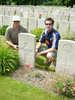 Photograph of Peter Haughey and Craig Haughey at Private Joseph Marshall's (34700) grave in Belgium, 2006. Image kindly provided by Angela Haughey (October 2017). Image may be subject to copyright restrictions.