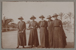 "Unknown, photographer (1915-1916). ""At Aboukir. Sis. Holmwood, Williams, McBeth, Mitchell, Bennett"". [Agnes (Peggy) Williams photograph album]. Auckland War Memorial Museum - Tāmaki Paenga Hira PH-2017-2-2-p12-2. No known copyright restrictions."