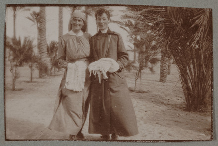 "Unknown, photographer (1915-1916). ""After a dip. Sis. McLean & Abbott"". [Agnes (Peggy) Williams photograph album]. Auckland War Memorial Museum - Tāmaki Paenga Hira PH-2017-2-2-p13-5. No known copyright restrictions."