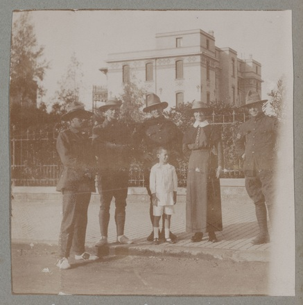 """Unknown, photographer (1915-1916). """"At Heliopolis. Sis. McBeth, Sgt Simmons, Collier, Harawira, Tpr Wallace"""". [Agnes (Peggy) Williams photograph album]. Auckland War Memorial Museum - Tāmaki Paenga Hira PH-2017-2-2-p31-5. No known copyright restrictions."""
