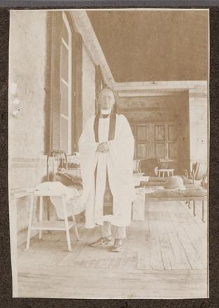 "Unknown, photographer (1915-1916). ""Padre McKenzie Gibson"". [Agnes (Peggy) Williams photograph album]. Auckland War Memorial Museum - Tāmaki Paenga Hira PH-2017-2-3-p40-1. No known copyright restrictions."