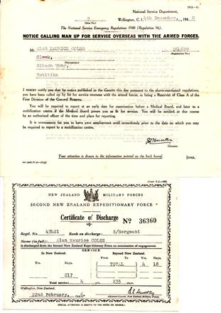 Notice from the National Service Department, and Certificate of Discharge for Alan Maurice Coles 42421. Image kindly provided by the Lloyd Family (October 2017). Image may be subject to copyright restrictions.