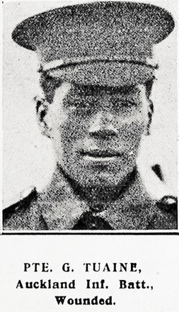 1/4 length portrait of Private G. Tuaine, Auckland Infantry Battalion, wounded.. Auckland Weekly News, 5 August 1915. Sir George Grey Special Collections, Auckland Libraries, AWNS-19150805-39-44.
