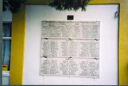 "South African War Memorial, on a wall near RSA entranceway, Gisborne. ""Volunteers from Poverty Bay who served in the Sth African War 1899-1902"". Image kindly provided by Paul Baker (December 2008). Image has no known copyright restrictions."