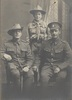 """Family group, WW1, Harwood soldiers and boy in scout uniform, family captioned as """"Harwood's at Timaru"""" (kindly provided by family)."""