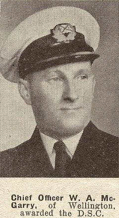 Chief Officer W. A. McGarry, of Wellington. awarded the D.S.C. Taken from the supplement to the Auckland Weekly News 19 MAY 1943 p019. Sir George Grey Special Collections, Auckland Libraries, AWNS-19430519-19-3