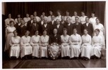Photograph of Lance Corporal Frank Albert Bryant 3/2648 with the 1921 Wesley/ Methodist Petone Choir (Frank 2nd from left, back row of men, his wife Irene, seated first left, Irene's mother Eliza Frances Blakeley, seated front row 2nd from left, Irene's father and the church organist Benjamin Wilson Blakeley, seated front row at centre with the Shield). Image kindly provided by Lesley Cooper (January 2018). Image has no known copyright restrictions.