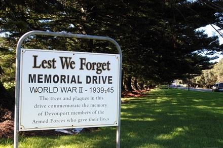 Memorial Drive, 1939-1945, Devonport Memorial Drive. Image provided by John Halpin 2013, CC BY John Halpin 2013