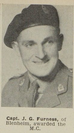Portrait of Captain J.G. Furness, of Blenheim, awarded the M.C. Auckland Weekly News, 2 August 1944. Sir George Grey Special Collections, Auckland Libraries, AWNS-19440802-25-3. Image may have copyright restrictions.
