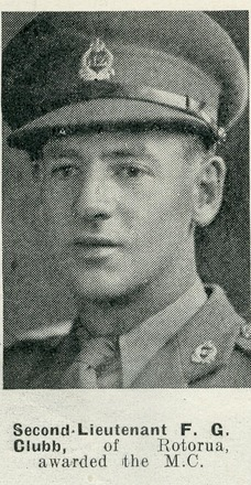 Portrait of Second-Lieutenant F.G. Clubb, of Rotorua, awarded the M.C. Auckland Weekly News, 8 April 1942. Sir George Grey Special Collections, Auckland Libraries, AWNS-19420408-24-29. Image has no known copyright restrictions.