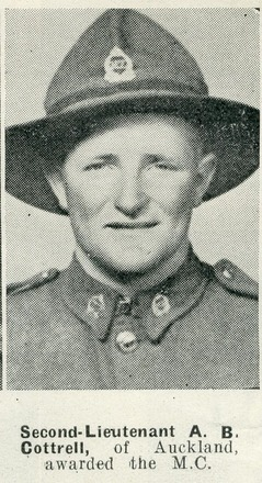 Portrait of Second-Lieutenant A.B. Cottrell, of Auckland, awarded the M.C. Auckland Weekly News, 8 April 1942. Sir George Grey Special Collections, Auckland Libraries, AWNS-19420408-24-30. Image has no known copyright restrictions.