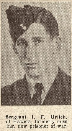 Portrait of Flight Sergeant Ivan F Urlich Taken from the supplement to the Auckland Weekly News 18 AUGUST 1943 p020. Sir George Grey Special Collections, Auckland Libraries, AWNS-19430818-20-31. No known copyright restrictions.
