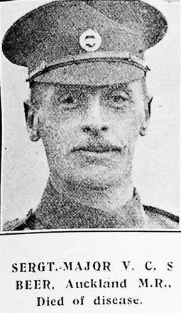 Portrait of Valentine Beer, Auckland Mounted Rifles. Died of disease. Auckland Weekly News, 11 November 1915. Sir George Grey Special Collections, Auckland Libraries, AWNS-19151111-39-9