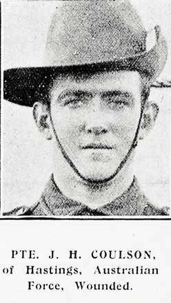 Portrait of John Herbert Coulson, Australian Imperial Force, Auckland Weekly News, 11 November 1915. Sir George Grey Special Collections, Auckland Libraries, AWNS-19151111-40-39. Image has no known copyright restrictions.