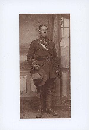 Full length photograph of 2nd Lieutenant Harry George Bush 10/2538, taken after commission on 11.06.17. Image kindly provided by R.W. Turton (May 2018). Image has no known copyright restrictions.