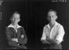 Split negative of a young boy seated with arms folded. Frank Rheidhaar Bullot is posed wearing a jacket on left and white shirt on right. Son of Arthur Bertrand and Bertha Bullot. Photograph (ref: PHO2016-0162 ) held by Puke Ariki Museum, New Plymouth, New Zealand : pukeariki.com - Please do not reproduce without permission from Puke Ariki. Contact images@pukeariki.com for more information.