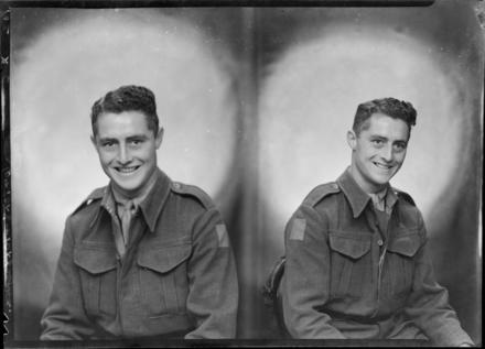 Split negative of serviceman, Corporal Frank Robert Brown of 22nd Infantry Battalion, wearing full uniform. Born in Inglewood, Taranaki. Killed in action on 15 April 1945, aged 22, in Italy. Photograph (ref: SW1944.0280) held by Puke Ariki Museum, New Plymouth, New Zealand : pukeariki.com - Please do not reproduce without permission from Puke Ariki. Contact images@pukeariki.com for more information.