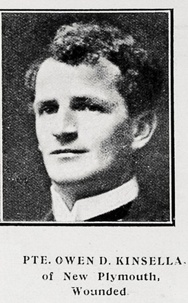 Portrait of Owen David Kinsella, Auckland Weekly News, 29 June 1916. Sir George Grey Special Collections, Auckland Libraries, AWNS-19160629-37-8. Image has no known copyright restrictions.