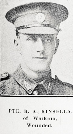 Portrait of Private Robert Armstrong Kinsella, Auckland Weekly News, 28 September 1916. Sir George Grey Special Collections, Auckland Libraries, AWNS-19160928-41-33. Image has no known copyright restrictions.