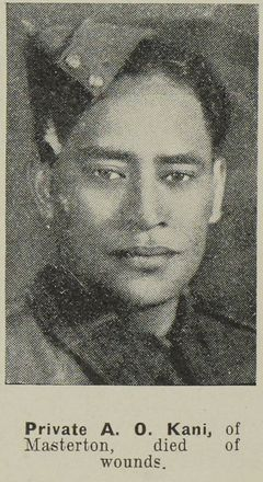 Portrait of Private Albert Kani, Auckland Weekly News, 14 October 1942. Sir George Grey Special Collection, Auckland Libraries, AWNS-19421014-18-32. Image has no known copyright restrictions.