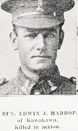 Portrait of Rifleman Edwin Harrop, Auckland Weekly News, 15 March 1917. Sir George Grey Special Collections, Auckland Libraries, AWNS-19170315-45-42 . Image has no known copyright restrictions.