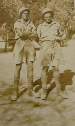 Photograph of Private John William (Bill) Bell 8780 and Private Charles Henry Humphreys 36679. Taken 16 August 1941. Image kindly provided by Pam Clarke (July 2018). Image may be subject to copyright restrictions.