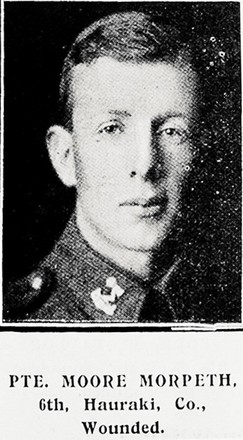 Portrait of Private Moore Morpeth, Auckland Weekly News, 24 June 1915. Sir George Grey Special Collections, Auckland Libraries, AWNS-19150624-39-41. Image has no known copyright restrictions.