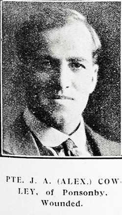 Portrait of John Alexander Cowley, Auckland Weekly News, 24 August 1916. Sir George Grey Special Collections, Auckland Libraries, AWNS-19160824-41-33. Image has no known copyright restrictions.