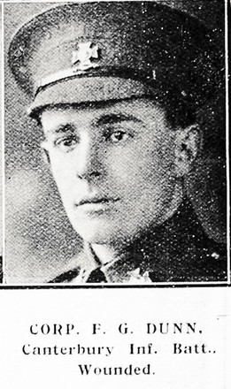 Portrait of Corporal Frederick George Dunn, Auckland Weekly News, 30 September 1915.  Sir George Grey Special Collections, Auckland Libraries, AWNS-19150930-39-24. Image has no known copyright restrictions.