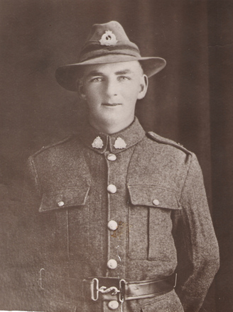 Portrait of Private Bernard Mulligan. Image kindly providied by Bernard Grant (September 2018). Image has no known copyright restrictions.