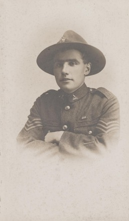 Portrait of Sergeant Robert Horace Cain MM. Archives New Zealand.AALZ 25044 5 / F1793. Image may be subject to copyright restrictions.
