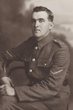 Portrait of L/Corporal (later WO2 (BQMS)) Albert Henry Johnston MM. Archives New Zealand, AALZ 25044 5 / F2092. Image may be subject to copyright restrictions.