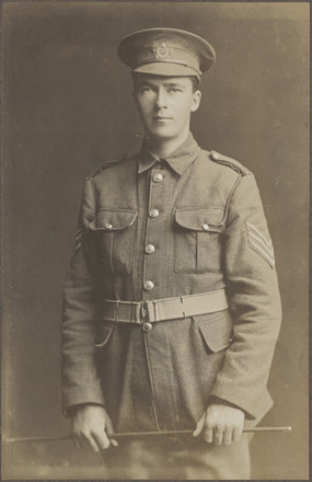Portrait of Private (later 2nd Lt) John Joseph Bishop, Archives New Zealand, AALZ 25044 1 / F584. Image may be subject to copyright restrictions.
