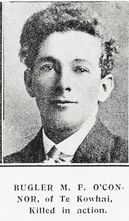 Portrait of Private Michael O'Connor, Auckland Weekly News, 5 July 1917. Sir George Grey Special Collections, Auckland Libraries, AWNS-19170705-41-20. Image has no known copyright restrictions.