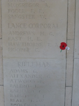 Photograph of Lance Corporal Memorial at Buttes New British Cemetery (N.Z.) Memorial, Polygon Wood, Belgium. Image kindly provided by Bernice Brooks (November 2018). Image may be subject to copyright restrictions.