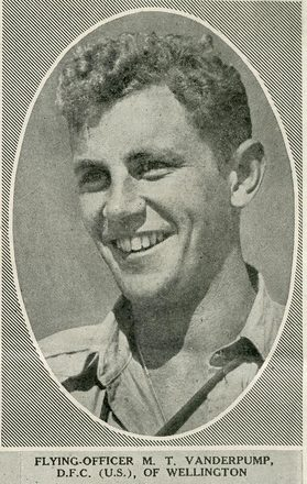 Portrait of Flying Officer Mortimer Tuke Vanderpump, Auckland Weekly News, 1 March 1944. Sir George Grey Special Collections, Auckland Libraries, AWNS-19440301-21-4. Image may be subject to copyright restrictions.