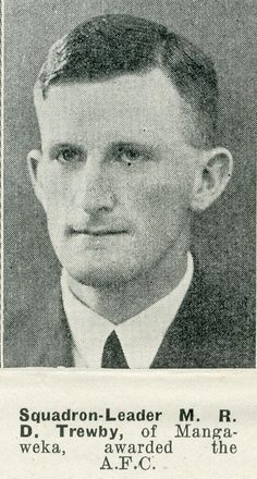 Portrait of Squadron Leader Maurice Robert Desmond Trewby, Auckland Weekly News, 29 April 1942. Sir George Grey Special Collections, Auckland Libraries, AWNS-19420429-22-19. Image has no known copyright restrictions.