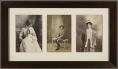 Portraits of John Wesley Cobb (centre) and his sisters, Mary (left) and Mabel (right). Date unkown. Image kindly provided by Jocelyn Henry (October 2018). Image has no known copyright restrictions.