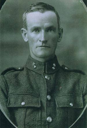Portrait of Sapper Gerald Flynn. Image kindly provided by Faye Osbaldiston (December 2018). Image has no known copyright restrictions.