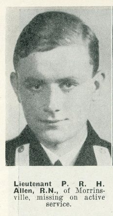 Portrait of Lieutenant Peter Russell Hay Allen, Auckland Weekly News, 27 May 1942. Sir George Grey Special Collections, Auckland Libraries, AWNS-19420527-22-1. Image has no known copyright restrictions.