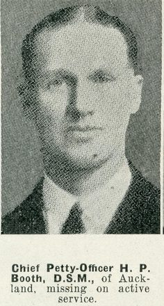 Portrait of Chief Petty Officer Henry Percival Booth, Auckland Weekly News, 29 April 1942. Sir George Grey Special Collections, Auckland Libraries, AWNS-19420429-22-3. Image has no known copyright restrictions.