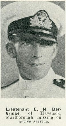 Portrait of Lieutenant Edgar Neil Derbridge, Royal New Zealand Naval Volunteer Reserve, Auckland Weekly News. Sir George Grey Special Collections, Auckland Libraries, AWNS-19420513-22-5. Image has no known copyright restrictions.