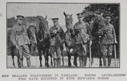 Photograph of (from left to right) [R.]S. Hellaby, G.M. Nicol, John Hellaby and Wilmot Ching, King Edward's Horse, Auckland Weekly News, 11 February 1915. Sir George Grey Special Collections, Auckland Libraries, AWNS-19150211-44-1. Image has no known copyright restrictions.