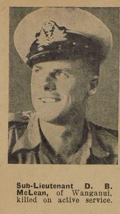 Portrait of Sub Lieutenant Denis Beresford McLean, Auckland Weekly News, 16 December 1942. Sir George Grey Special Collection, Auckland Libraries, AWNS-19421216-23-1. Image has no known copyright restrictions.