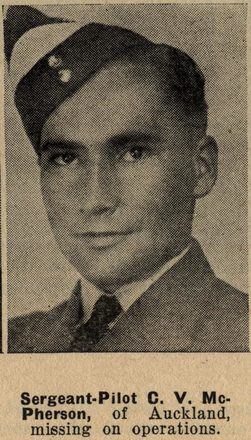 Portrait of Flight Sergeant Colin Valentine McPherson, Auckland Weekly News, 30 September 1942. 'Sir George Grey Special Collections, Auckland Libraries, AWNS-19420930-18-43. Image has no known copyright restrictions.