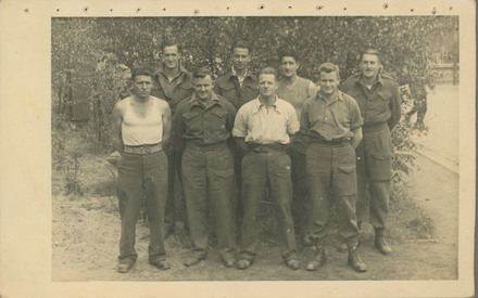 Group Photograph of Prisoners of War from Camp Oflag 79. Jack Read, Robert Joseph George Smith, Archibald Henry Zweibruck, Jim Meads, E.W Gates, Bill Donald, A.J. Lang, Sgt F.C. Parker. Image kindly provided by Lynette Wilson (February 2019). Image may be subject to copyright restrictions.