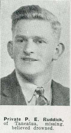 Portrait of Private Percy Edward  Ruddick, Auckland Weekly News, 25 February 1942. Auckland Libraries Heritage Collections, AWNS-19420225-25-16. Image has no known copyright restrictions.