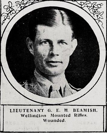 Portrait of Lieutenant George Edward Hamilton Beamish, Auckland Weekly News, 2 September 1915. Auckland Libraries Heritage Collections AWNS-19150902-38-21. Image hs no known copyright restrictions.